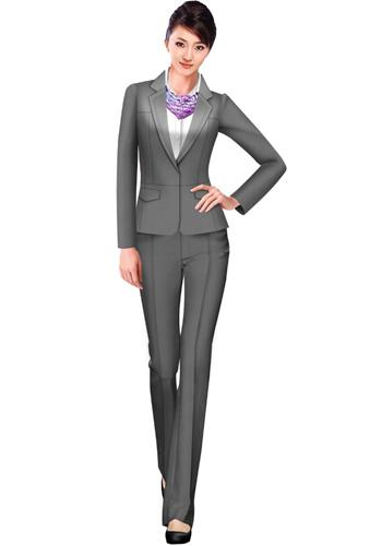 灰色女士西服套装