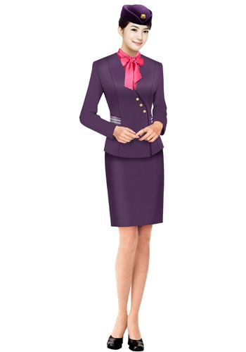 紫色销售制服