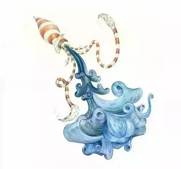 他的水彩画作为自然生灵注入了独特个性