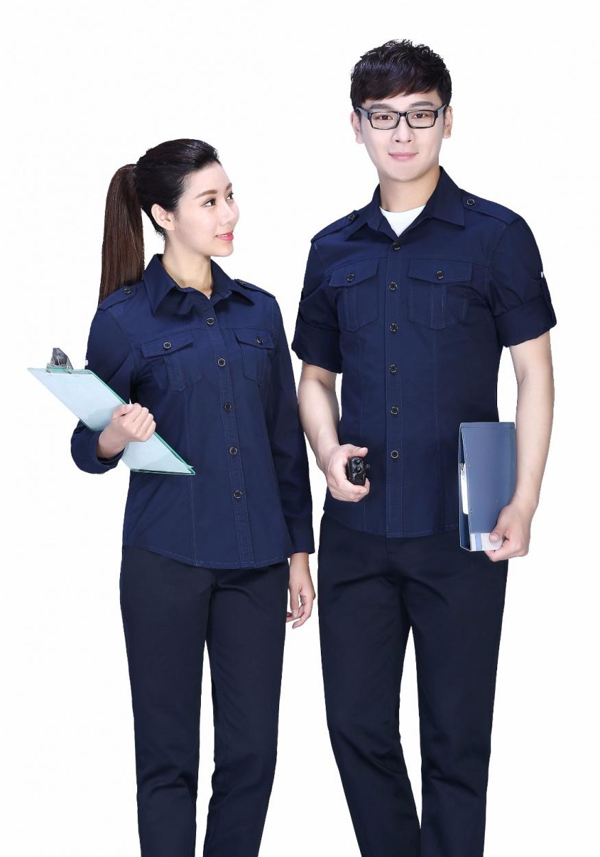 深蓝色纯棉夏季长袖工作服FY608