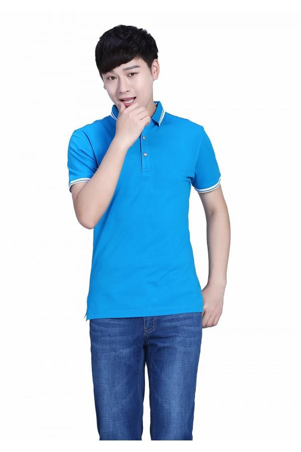 新款湖蓝色POLO衫莱赛尔平纹短袖T恤
